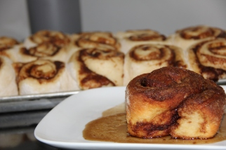 Cinnamon rolls, icing available.