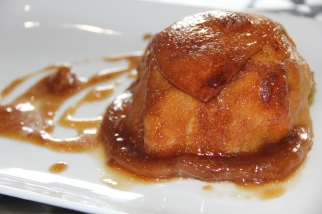 Apple dumplings, peach available when in season